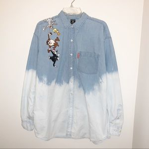 Vintage Looney Tunes Embroidered Dyed Button Up
